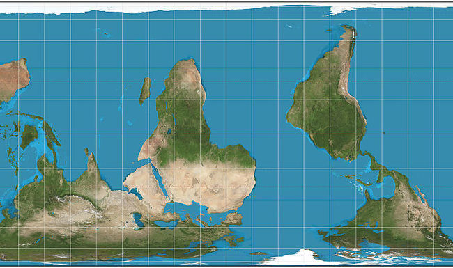An image of the world in Behrmann projection, with south at the top